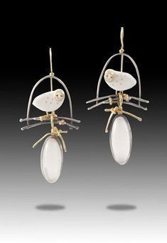 "Earrings Carolyn Morris Bach - Sterling, 18K, 22K, Moonstone, Cowbone, Fossilized Ivory, 2 1/4"" x 1"""