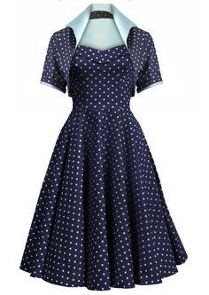 50s Dotty Swing Dress Ensemble - Navy - adorable little jackets