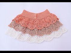 Falda de volantes de piñas a crochet. Muy fácil . Majovel crochet - YouTube