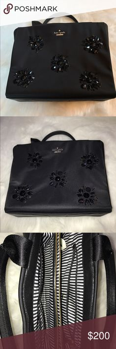 Kate spade sequined bag! ♠️ PRICE DROP!  Gorgeous black bag by Kate Spade! ♠️ Beautiful black sequins on front; back is smooth. Super clean inside as only used twice. Two handles. Zippered interior pocket plus standard 3 inside pockets. Comes with a dust bag! kate spade Bags
