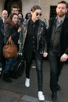 26 January Bella Hadid paired leather with leather as she left her hotel in Paris, headed for London.   - HarpersBAZAAR.co.uk