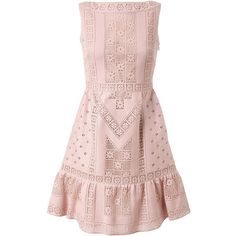 VALENTINO Crocheted Guipure Lace Dress (5.905 BRL) ❤ liked on Polyvore featuring dresses, vestidos, valentino, vestiti, lace dress, crochet dress, pink crochet dress, lace pleated dress and pink lace cocktail dress