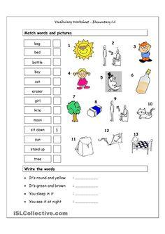 Vocabulary Matching Worksheet - Elementary 1.2