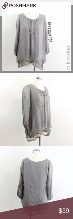"PRONTOMODA GIUSY • grey double layer lace tunic • soft and airy double layer blouse • top layer is a thin silk chiffon • under layer is a stretch jersey with a lace trim • excellent used condition • sleeves are sheer and have an elastic cuff • slight gathering at the center neckline  100% silk outer  ✂️  Bust = 40"" ✂️  Waist = 38"" ✂️  Shoulder = 14.5"" ✂️  Length = 28""  • sorry no trades • please feel free to ask any questions  ❤️,  @mikimakes Prontomoda Giusy Tops Blouses"