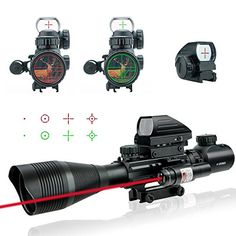 Lirisy Rifle Scope with Red Laser, Tactical Optics 4-12x5...