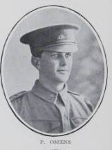 COZENS,   Percy.   Private,   No.   3050,   25th   Battalion.   Born   and   educated   at   Maryborough.   The   son   of   Hubert   Oliver   Cozens  and   the   late   Amelia   Cozens,   of   Ferry   Street,   Maryborough.