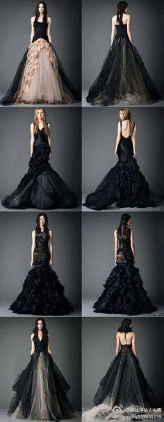 暗黑系新娘 ,黑色系婚纱by Vera wang
