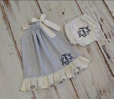Monogrammed ruffle pillowcase dress. Adorable!