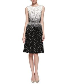 Sleeveless Dotted Dress, Ivory/Black by Oscar de la Renta at Bergdorf Goodman.3400 made better fits the model