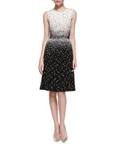 Sleeveless Dotted Dress, Ivory/Black by Oscar de la Renta at Bergdorf Goodman.3400 made better fits the model