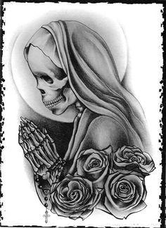 "the-creepatorium: "" Art by David Arriaga "" Tribal Tattoos, Chicano Art Tattoos, Skull Tattoos, Sleeve Tattoos, Forearm Tattoos, Skull Girl Tattoo, Girl Tattoos, Tattoos For Guys, Tatoos"