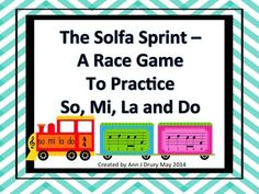 Teams race to find the correct pitch pattern in this train themed game to practice so, mi, la and do.  This file contains 3 versions of the same game.   Set one uses treble clef notation with the solfa written beneath each note. Set two uses treble clef notation with the starting note given and  set three is just the notation - no solfa.   Rhythms used are quarter notes (ta), paired eighth notes (ti-ti) and the quarter rest (ta rest).