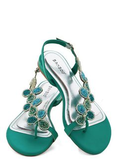 Bead of a Different Drummer Sandal in Sea Green - Low, Faux Leather, Mint, Solid, Beads, Party, Daytime Party, Good, Strappy, Variation