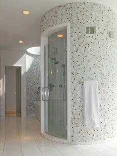 million dollar custom home showers | Geist Remodel Master Bath Curved Shower