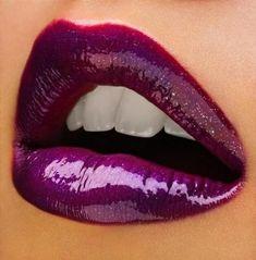 Dark purple lipstick. Very cute.