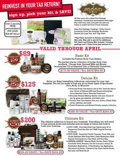 Reinvest in your Tax return and join Jordan Essentials today. Pick your kit and your ready to go. What are you waiting for?? The basic kit is only 89.00 to get your business off and running. For more information contact me at www.myjestore.com/lizzie your skin will thank you