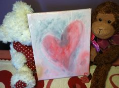 Pink heart w/ blue shading Acrylic Painting by elfWorksLane, $39.00