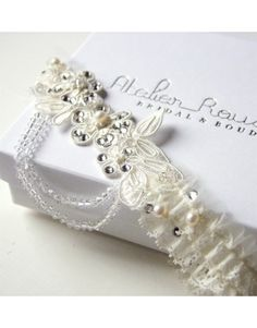 Just in!  Atelier Rousseau  Anais Lace and Tulle Garter with Swarovski Crystals.  I Thee Bling | Wedding Couture for Every Girl