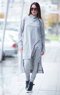 Sports Grey set of cotton with elastan in 2 parts. Be Modern and Elegant and DARE to WEAR! Top and bottom can be worn separately and combine with various clothes successfully. Perfect Casual Stile. ♥ THE PERFECT GIFT ever ♥ ♥ I wrap all garments in my Boutique in a special UNIQUE way ♥ ♥ Suitable for Hijab Style This is one of my Favorite ! Always a STAR when wearing it :) ♥ ♥ ♥ So comfortable,elegant,stunning....Youll gonna love this piece ♥ ♥ ♥ Dear to Wear  Handmade in a Pet-free and…