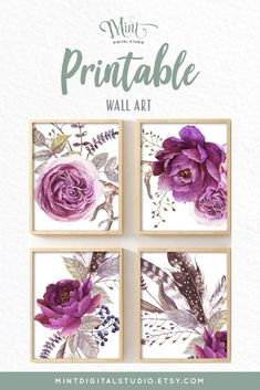 Beautiful set of four floral prints in deep purple tones and added feathers for that boho feel. These unique prints would be an eye catching addition to any interior design scheme.