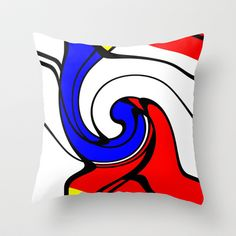 When Mondrian met Picasso Throw Pillow by aapshop - $20.00