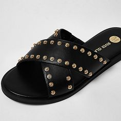 Faux leather upper Cross strap front Gold tone stud detail Open toe slip on style