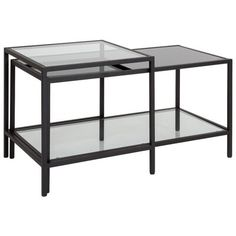 Andover Mills Nero Coffee Table with Storage   Wayfair.ca Glass Table Set, Glass Top Coffee Table, Coffee Table With Storage, Coffee Table Design, Coffee And End Tables, Sofa End Tables, Black Table, Furniture Deals, Living Room Furniture