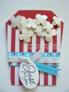 Wouldn't this be cute on a kid's sleepover LO?  Popcorn! by pennysmiley - Cards and Paper Crafts at Splitcoaststampers Movie Gift, Movie Party, Punch Art Cards, Shaped Cards, Kids Cards, Card Tags, Envelopes, Cool Cards, Creative Cards