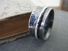 Sterling silver spinner ring wide textured band by PersimmonPearl