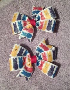 Glitter Peeps Pigtail Hair Bow Set $3.00 www.facebook.com/treasuresbyhand
