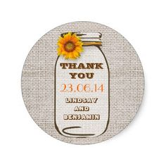 Rustic Burlap Mason Jar Wedding Sunflower Stickers