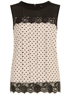 Blush Spot Lace Contrast Shell Top by Dorothy Perkins