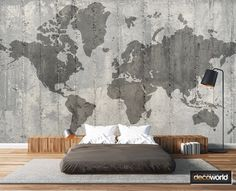 Modern style decor with outline world map wall mural World Map Wall, Dream Rooms, Outline, Wall Murals, Home Office, Maps, Tapestry, Wallpaper, Modern