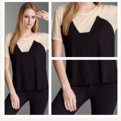 🆕 LnA - Geometric Trim T-Shirt NWOT (new without tags) - Short sleeved t-shirt with geometric trim and sheer/mesh sleeves. Black and cream. Crew neck. Oversized.  ⭐️No trades/PayPal! ⭐Fast shipping!⭐️Better price if bundled, 30% off any purchase of 3 items or more!! Use the bundle feature for savings! LnA Tops Tees - Short Sleeve