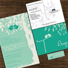 Custom Love Birdies Wedding Invitation Suite with RSVP postcards and address labels - Emerald Green Wedding