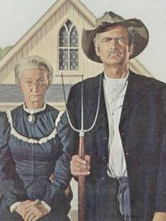 """The Saturday Evening Post magazine 1963 - American Gothic with Granny and Jed Clampett of """"The Beverly Hillbillies. American Gothic Painting, American Gothic House, Grant Wood American Gothic, American Gothic Parody, Deviant Art, Iowa, The Beverly Hillbillies, Mona Lisa, Art Grants"""