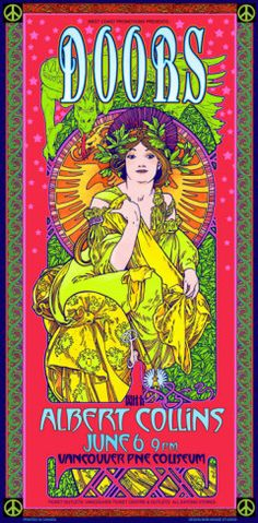 A rock n' roll legend in his own right, Canada's Bob Masse has been creating collectible concert posters since the '60's - his distinctive color palette, unique lettering style, and bold composition form his signature style on posters for the Grateful Dead, and The Doors, to today's hottest artists. (1970)