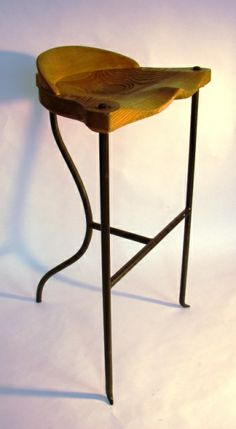 stool designed by Nigel Coates circa 1990. Sanded oak seat and steel legs.