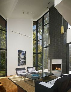 The Harkavy Residence, Wooden House Inspiration by Robert Gurney Architect - Livingroom with Fireplace