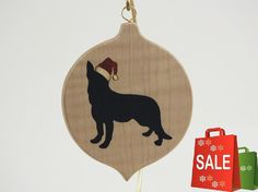 Beautiful Marquetry wood inlay Christmas ornament of German Shepherd. Inlay woods are Ebony, Holly and Redheart, background wood is quilted maple.