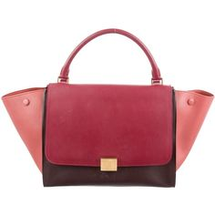 Pre-owned C?line Medium Trapeze Bag ($925) ❤ liked on Polyvore featuring bags, handbags, burgundy, preowned handbags, red hand bags, zip purse, celine handbags and kiss-lock handbags