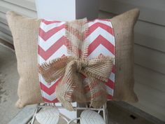 Coral Chevron Print Band on Natural burlap Pillow with burlap tie. Ordering.