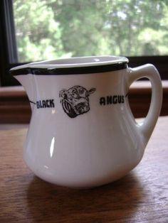 Vintage Restaurantware Restaurant Pottery China Creamer Black Angus