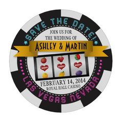Send out real poker chips as a save the date for a Vegas wedding! Here's a fun Vegas destination photo wedding save the date poker chip that you can personalize with your own text and photo.