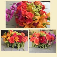 Wedding Anniversary centerpiece bright fall colors. Flowercouture4you