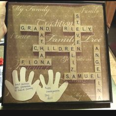 """Scrabble letters spell """"grand children"""" with the kids names. At the bottom it says """"great parents get promoted to grandparents"""""""