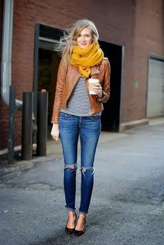 ripped jeans, striped t-shirt, mustard scarf, tan leather jacket, casual outfit