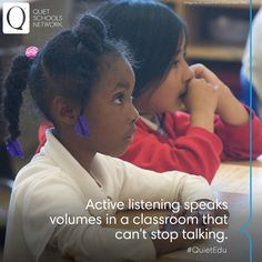 Raising your hand is not the only way to engage in class.   Will you help us create classrooms that teach the value of active listening? Learn how your school can tap into the power of Quiet Ambassadors → http://www.quietrev.com/quiet-schools-network/