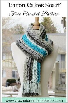 Ocean Waves Scarf, Free Crochet Scarf Pattern Using Caron Cakes Yarn