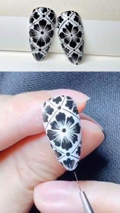 Nail Art Designs Videos, Nail Art Videos, Gel Nails, Acrylic Nails, Nail Polish, Nail Art Hacks, Nail Art Diy, Nagellack Design, White Nail Art